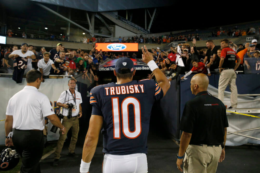 Chicago Bears quarterback Mitchell Trubisky (10) waves to fans after his first NFL preseason game. (AP Photo/Nam Y. Huh)